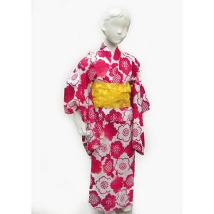 子供浴衣きるきっず 綿紅梅 桜 100サイズ 3・4才用 お子様浴衣 母娘浴衣|hinoyajp2000