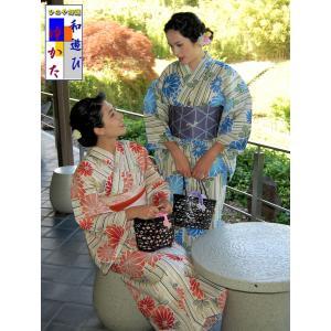 浴衣 仕立て上り浴衣 菊に縞 プレタ浴衣 フリーサイズ|hinoyajp2000
