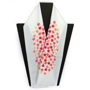 刺繍半衿 白地小花柄赤ピンク シルエリー(新合繊) 振袖用・訪問着 |hinoyajp2000