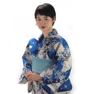 綿麻浴衣 仕立て上り浴衣 藍染切り取り柄 麻30% プレタ浴衣 フリーサイズ 浴衣単品 hinoyajp2000