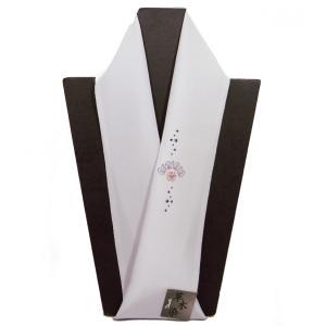 正絹半襟 刺繍半衿 カラー半衿 白鼠色ラインストーン おしゃれ半えり メール便対応商品|hinoyajp2000