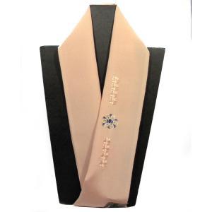 正絹半襟 刺繍半衿 カラー半衿 丁子色 おしゃれ半えり メール便対応商品|hinoyajp2000