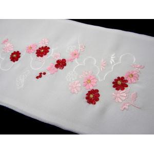 刺繍半衿 絹交織 振袖用 赤 半襟 メール便対応商品|hinoyajp2000|02