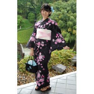 浴衣単品 菊黒地F仕立上り 仕立上りの浴衣 日本の夏美人|hinoyajp2000