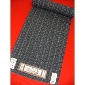 木綿ちりめん 藍鼠絣9014 木綿の着物|hinoyajp2000