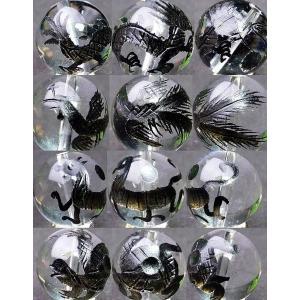 ≪四神 手彫り 10mm≫●10mm●水晶●オニキス●送料無料有●1set(各1粒 青龍・白虎・朱雀・玄武)●風水四神獣●天然石●パワーストーン●ポイント消化 hinryo 05