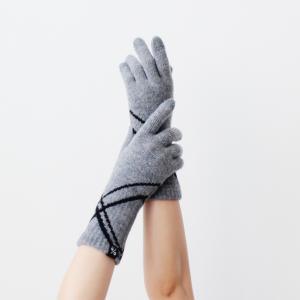 % PERCENT 手袋(COMFORTABLE:ライトグレー90%・ブラック10%)パーセント・裏...