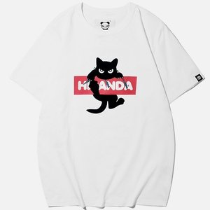 【公式】レディース BLACK CATプリント 半袖Tシャツ HIPANDA WOMAN'S BLA...