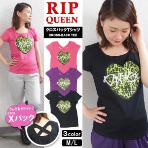 [ブランド]RIP QUEEN(リップクイーン) [アイテム]クロスバック Tシャツ [カラー]ブラ...