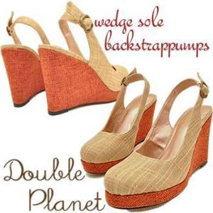Double Planet ダブルプラネット 厚底ウェッジソール パンプス プラットフォーム バックストラップパンプス レディース 靴|hips