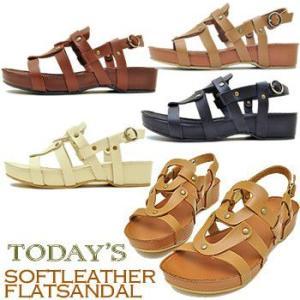 TODAY'S トゥデイズ ウェッジソール バックストラップサンダル ヌメ調 ウエッジサンダル  前底 フラットサンダル レディース 靴|hips