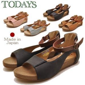 TODAY'S TODAYS  トゥデイズ サンダル アンクルストラップサンダル オープントゥ フラットサンダル レディース 靴|hips