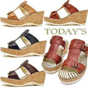TODAY'S トゥデイズ ウェッジソール ミュールサンダル 前底 プラットフォーム サンダル レディース 靴|hips