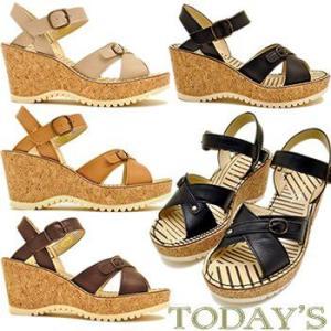 TODAY'S トゥデイズ ウェッジソール アンクルストラップ サンダル 前底 プラットフォーム サンダル レディース 靴|hips