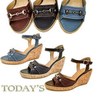 TODAY'S トゥデイズ ウェッジソール アンクルストラップ サンダル コルクウェッジ 前底 プラットフォーム サンダル レディース 靴|hips