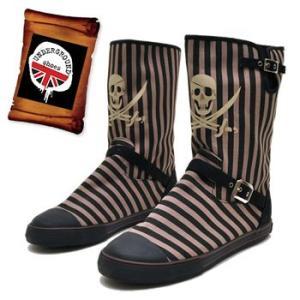 海賊スカルプリントの エンジニア風ブーツ UNDERGROUND アンダーグラウンド キャンバスブーツ|hips