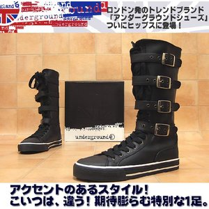 UNDERGROUND アンダーグラウンド スニーカー感覚ロング丈レースアップブーツ メンズ靴 hips