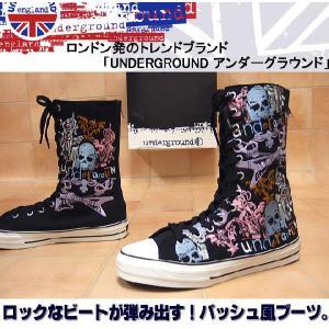 UNDERGROUND アンダーグラウンド スカル ギター ロックパンク靴 キャンバスブーツ メンズ靴 hips