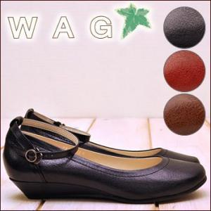 パンプス WAG ワグ ウエッジヒール アンクルストラップ付き 本革|hips