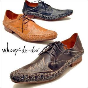 whoop'-de-doo' フープディドゥ ヴィンテージ加工レザー レースアップシューズメンズ 靴|hips