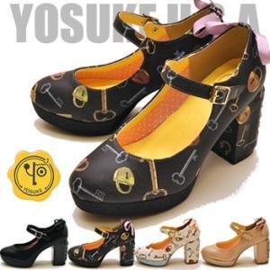 リボン付きヒール厚底パンプス YOSUKE ヨースケ 靴 ※(予約)は3営業日内に発送|hips