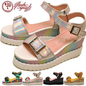 厚底サンダル レディース キラキラ YOSUKE ヨースケ 靴 ※(予約)は3営業日内に発送|hips