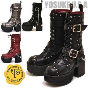 厚底ブーツ 黒 ミドル ロング 編み上げブーツ YOSUKE U.S.A ヨースケ|hips