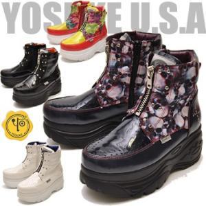 厚底 スニーカー レディース ハイカット ボタニカル柄 YOSUKE U.S.A ヨースケ|hips