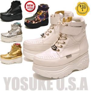 YOSUKE U.S.A ヨースケ 厚底スニーカー ハイカット プラットフォームスニーカー 厚底ブーツ|hips