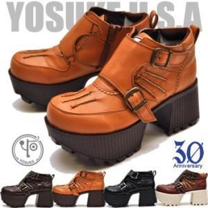 YOSUKE U.S.A ヨースケ 厚底ブーツ レディース ショート コスプレ ゴスロリ|hips