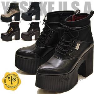 ストレッチ素材の厚底ブーツ レディース YOSUKE ヨースケ 靴 ※(予約)は6月中旬入荷分予約販売|hips