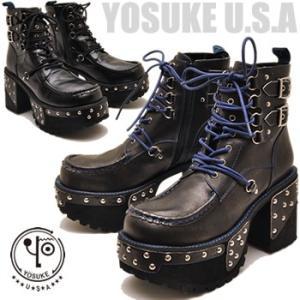 YOSUKE U.S.A ヨースケ メンズ 厚底ブーツ  レースアップブーツ ※(予約)は9月下旬入荷予定予約販売 hips