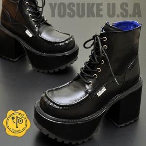 厚底ブーツ レディース ショート 黒 YOSUKE U.S.A ヨースケ  ※(予約)は3営業日内に発送|hips