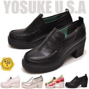 YOSUKE U.S.A ヨースケ 厚底スリッポンシューズ ヒール スリッポンパンプス ローファーパンプス hips