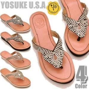 YOSUKE U.S.A ヨースケ 本革 サンダルトングサンダル ぺたんこサンダルフラットソール ラインストーンサンダル レディース 靴|hips