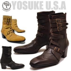 YOSUKE U.S.A ヨースケ ヒールブーツ チゼルトゥブーツ 本革 メンズ 靴|hips