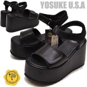 厚底 サンダル レディース 黒 YOSUKE U.S.A ヨースケ 【予約販売3月上旬頃入荷分】|hips