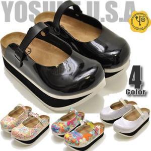 厚底サボサンダル ビルケンタイプ レディース フラワープリント ペイズリーYOSUKE U.S.A ヨースケ靴 |hips