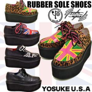 YOSUKE U.S.A ヨースケ ラバーソール シューズ 厚底靴 レディースラバーソール ジョーニコックスタイプ ユニオンジャック レディース靴 hips