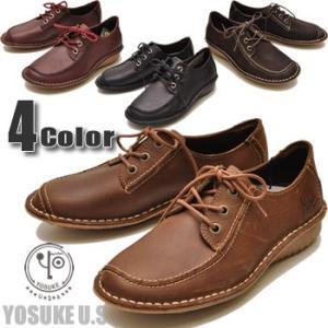 YOSUKE U.S.A ヨースケ 靴 本革 ふかふかインソールフラットシューズ モカシンシューズ レースアップコンフォートシューズ クッションインソール レディース 靴 hips