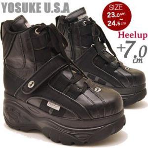 厚底スニーカー ハイカット レディース 黒 YOSUKE U.S.A ヨースケ|hips