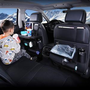 車用シートバックポケット 2019年アップグレード 車用ゴミ箱機能付き 車用収納ポケット 折り畳みテーブル付き レザー素材パレット 車の収納ボックス シートバッ|hirazen