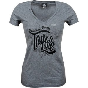 【USA在庫あり】 879663 スピードアンドストレングス Tシャツ Vネック 女性用 Tough Love グレー WLG JP店|hirochi