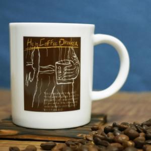 ヒロオリジナル コーヒー 軽量 マグカップ ブラウン【He is COFFEE DRINKER】陶器 軽い持ち心地|hirocoffee-shop