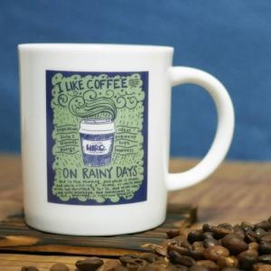 ヒロオリジナル コーヒー 軽量 マグカップ  グリーン×ブルー【I LIKE COFFEE】陶器 軽い持ち心地|hirocoffee-shop