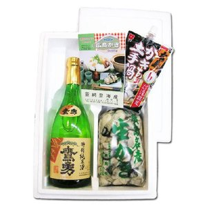 送料無料 網登海産さんの 広島生牡蠣むき身1kg と日本酒 鷹勇 特別純米酒 720ml セット|hiroshimatsuya