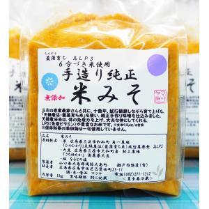 米みそ 1kg 藍藻育ち ひのひかり 六分づき米 無農薬大豆使用 高LPS 玄米味噌|hiroshimatsuya