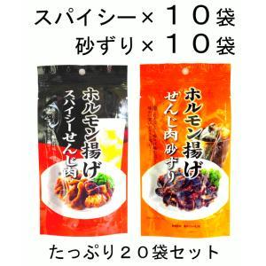 まとめ買い 広島名物 スパイシーせんじ肉40g と せんじ肉砂ずり40g 10袋ずつ 計20袋セット|hiroshimatsuya