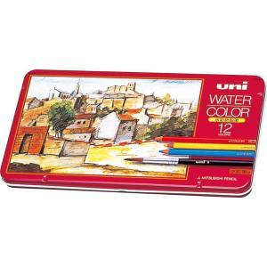三菱鉛筆 ユニ ウォーターカラーなめらかな色鉛筆のタッチ 水彩筆付き 大人の色鉛筆 12色セット 送料無料|hiroshimaya-pachi