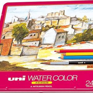 三菱鉛筆 ユニ ウォーターカラーなめらかな色鉛筆のタッチ 水彩筆付き 大人の色鉛筆 24色セット 送料無料|hiroshimaya-pachi